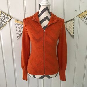 United Colors of Benetton Orange Zip Up Cardigan